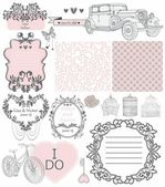 Wedding invitation collection of vintage elements — Stock Vector