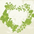 Floral Valentine green heart — Stock Vector