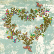 Floral vintage natural heart for Valentine — Vettoriali Stock