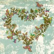 Floral vintage natural heart for Valentine — Imagen vectorial