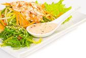 Fresh Vegetables Salad with Nuts Sauce and Chuka salad — Stock Photo
