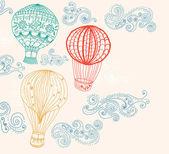 Hete luchtballon in hemelachtergrond — Stockvector