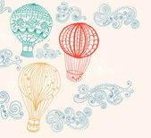 Hot air balloon in sky background — Vector de stock
