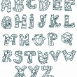 Stock Vector: Funny Alphabet