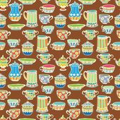Tea cup seamless background — Stock Vector