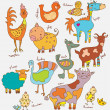 Funny cartoon farm animals - Vettoriali Stock