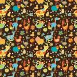Seamless Funny cartoon farm animals — Stock Vector