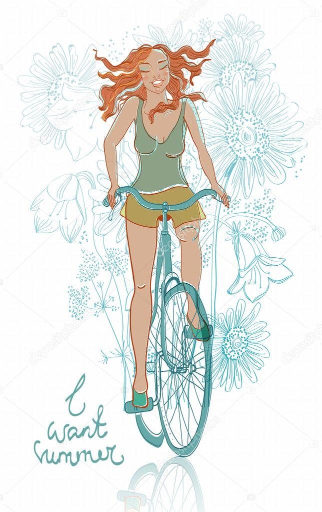 夏季自行车微笑女孩
