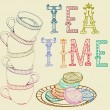 Vintage tea time background — Stock Vector