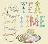 Fond de temps thé vintage — Vecteur