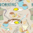 Seamless vintage morning breakfast background — Stock Vector