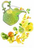 Orange and lime juice splash — Stock Vector