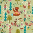Seamless cartoon Background with Forest Animals - Stock Vector