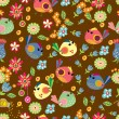 Seamless cartoon Background with color Birds - Vettoriali Stock