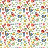 Seamless cartoon Background with color Birds — Stok Vektör
