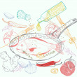 Background with taste Fish dish — Stock Vector