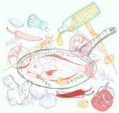 背景与口味的美味鱼菜 — 图库矢量图片