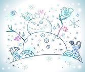 圣诞贺卡圣诞设计与雪人 — 图库矢量图片