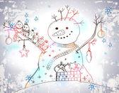 Christmas Card for xmas design with Snowman — Stock Vector