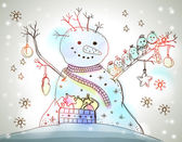 Kerstkaart voor xmas ontwerp met sneeuwpop — Stockvector