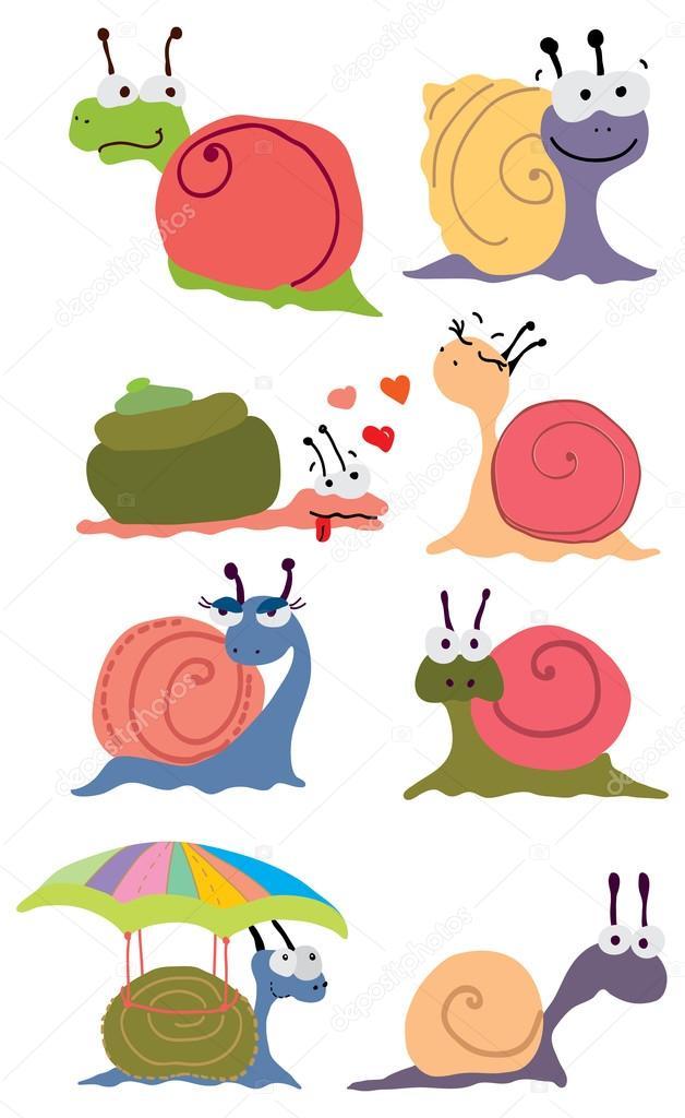 Caracoles de color dibujos animados — vector stock