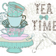 Vintage morning tea time background — Stock Vector