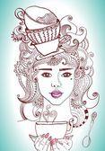 Güzel bir kız ve çay bardağı çizimi — Stok Vektör