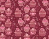 Nahtlose hintergrund mit muffins — Stockvektor