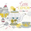 Love lemon tea card — Stock Vector
