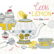 Love lemon tea card — Imagen vectorial