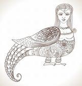 Fairy tale Russian fantastic woman bird — Stock Vector