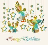 Merry Christmas card with Angels — Stock Vector
