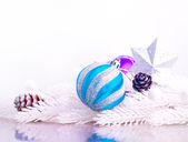 Blue and silver xmas decoration with fur tree — Stock Photo