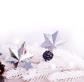 Silver xmas decoration with fur tree branch — Stock Photo