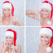 Beautiful smiling young woman in Santa Claus clothes set — Stock Photo