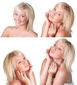 Beauty set with young lady with blond hair — Stock Photo