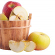 Apples in wooden bucket — Stock Photo