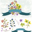 Stock Vector: Retro flowers, Cute floral bouquet