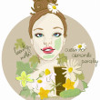 Cute Woman with facial mask — Stock Vector