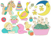 Children set with toys and baby — Stock Vector