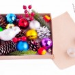 Stock Photo: Christmas decorations - cones, balls, berries and paper