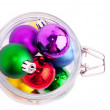 New Year bright color decoration ball in glass can — Stock Photo #36751087