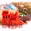 Christmas background with basket full of color balls — Foto Stock