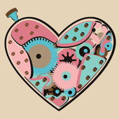 Mechanical Valentine color heart — Vector de stock