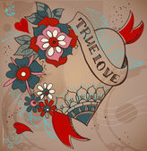 Old-school style tattoo heart with flowers, Valentine illustrati — Stock Vector