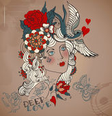 Old-school styled tattoo woman, Valentine illustration — Stock Vector