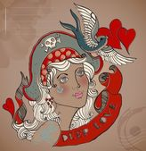 Old-school styled tattoo woman, Valentine illustration — Stockvektor