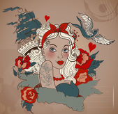Stary szkoła stylu kobieta tatuaż ptak i statek — Wektor stockowy