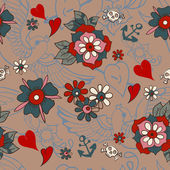 Seamless Vintage pattern with flowers for Valentine design — Stock Vector