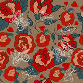 Seamless Vintage Floral pattern for Valentine design — Cтоковый вектор
